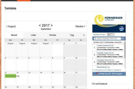 Club Kalender im Web verfügbar